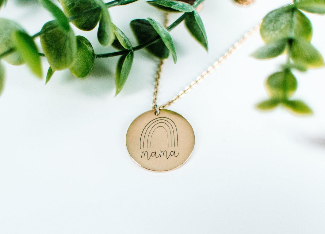 Mama rainbow pendant necklace / Stainless Steel or 18k Plated Gold