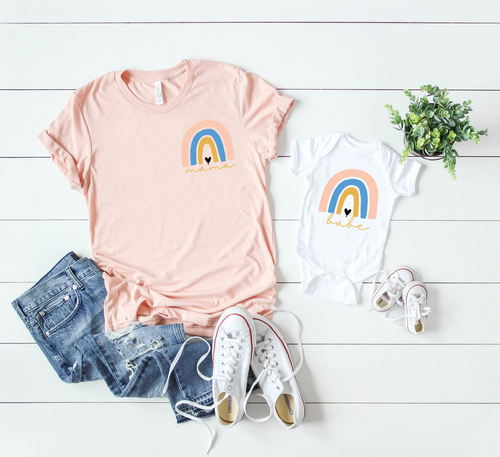Rainbow Mama & Rainbow Babe / Mommy and me set / Infant or Toddler - Happy momma merch