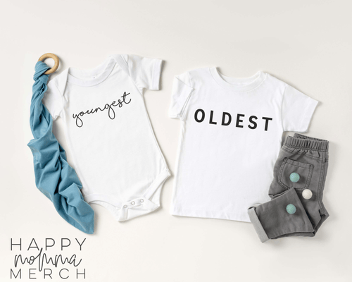 OLDEST youngest / Sibling set - Happy momma merch
