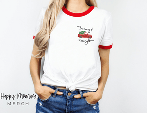 Merry & Bright little red truck / Ringer Christmas shirt - Happy momma merch