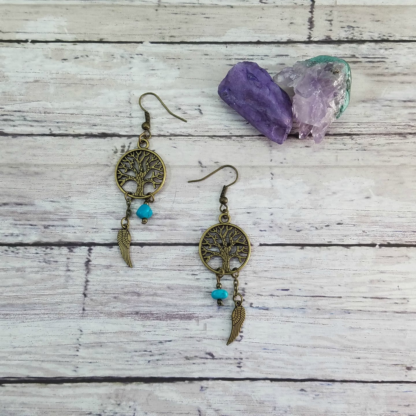 Bronze Tree of Life Gemstone Earrings