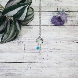 Silver Tree of Life Gemstone Pendant
