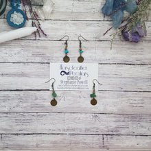 Load image into Gallery viewer, Bronze Coin Gemstone Earrings