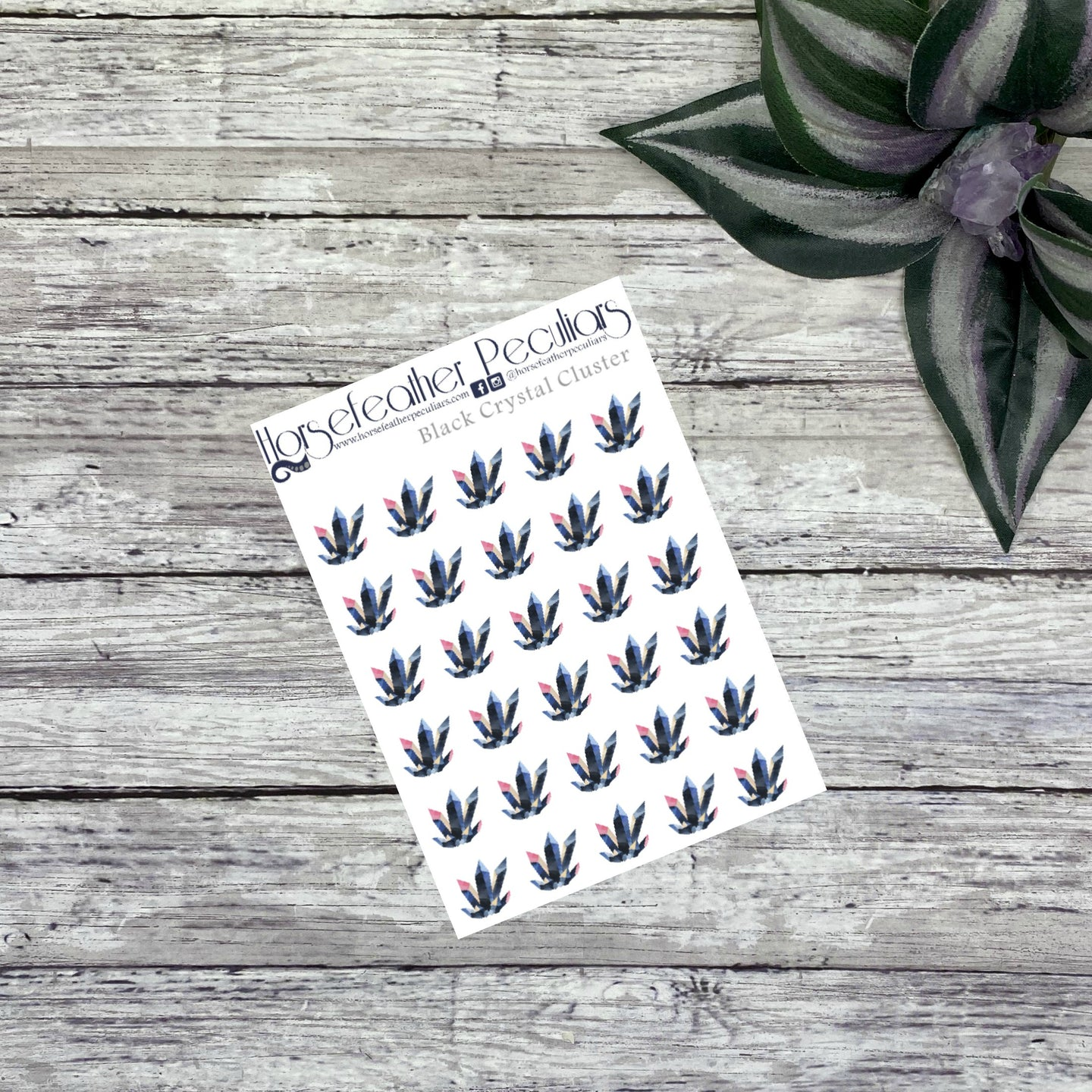 Black Crystal Cluster Planner Stickers