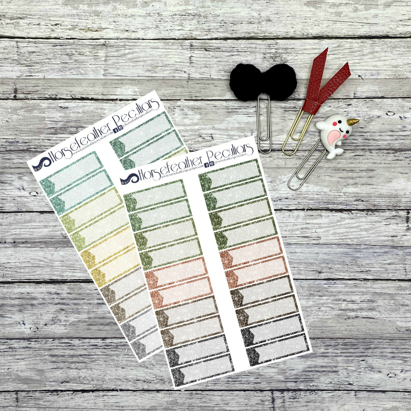 Glitter Quarter Box Planner Stickers - 2 pack
