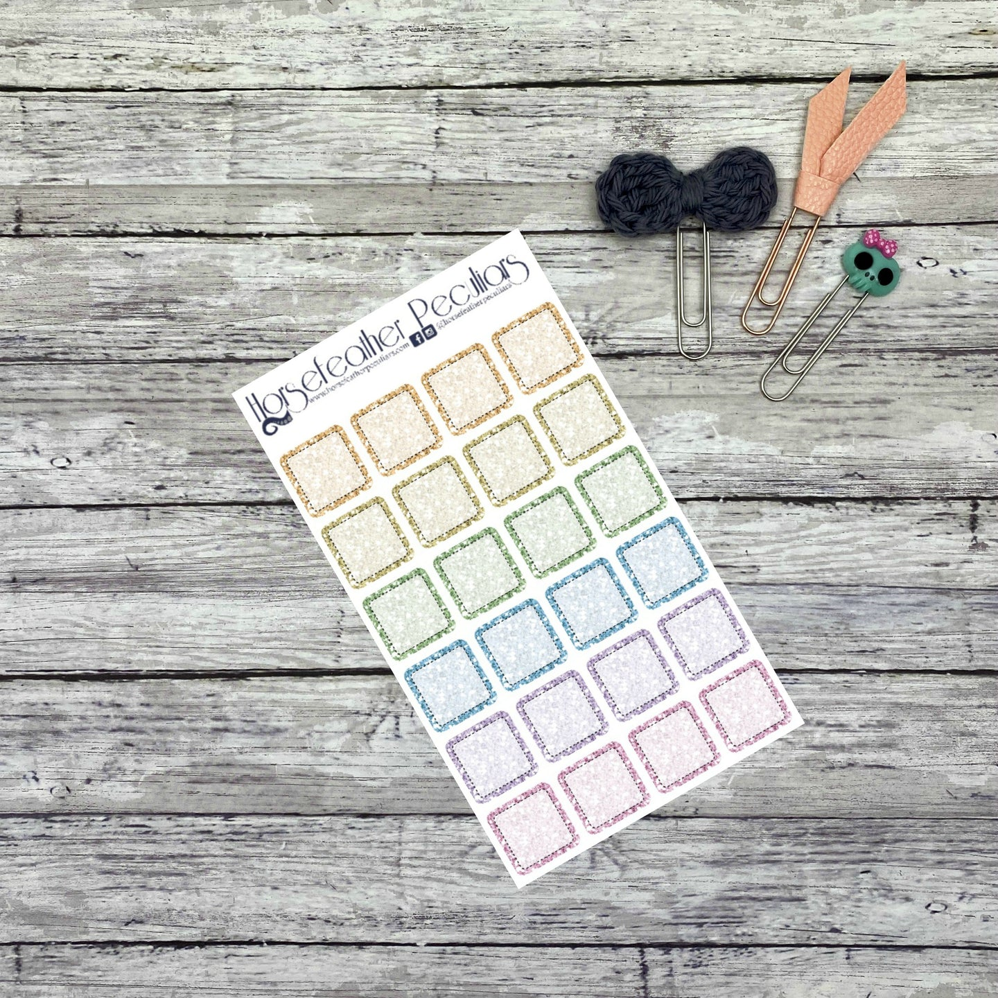 Glitter Square Planner Stickers