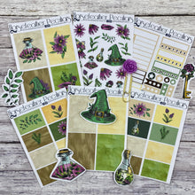 Load image into Gallery viewer, Glitch Green Witch Planner Sticker Kit Loot Bag 1