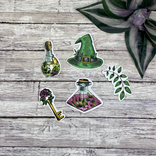 Green Witch Die Cut Stickers