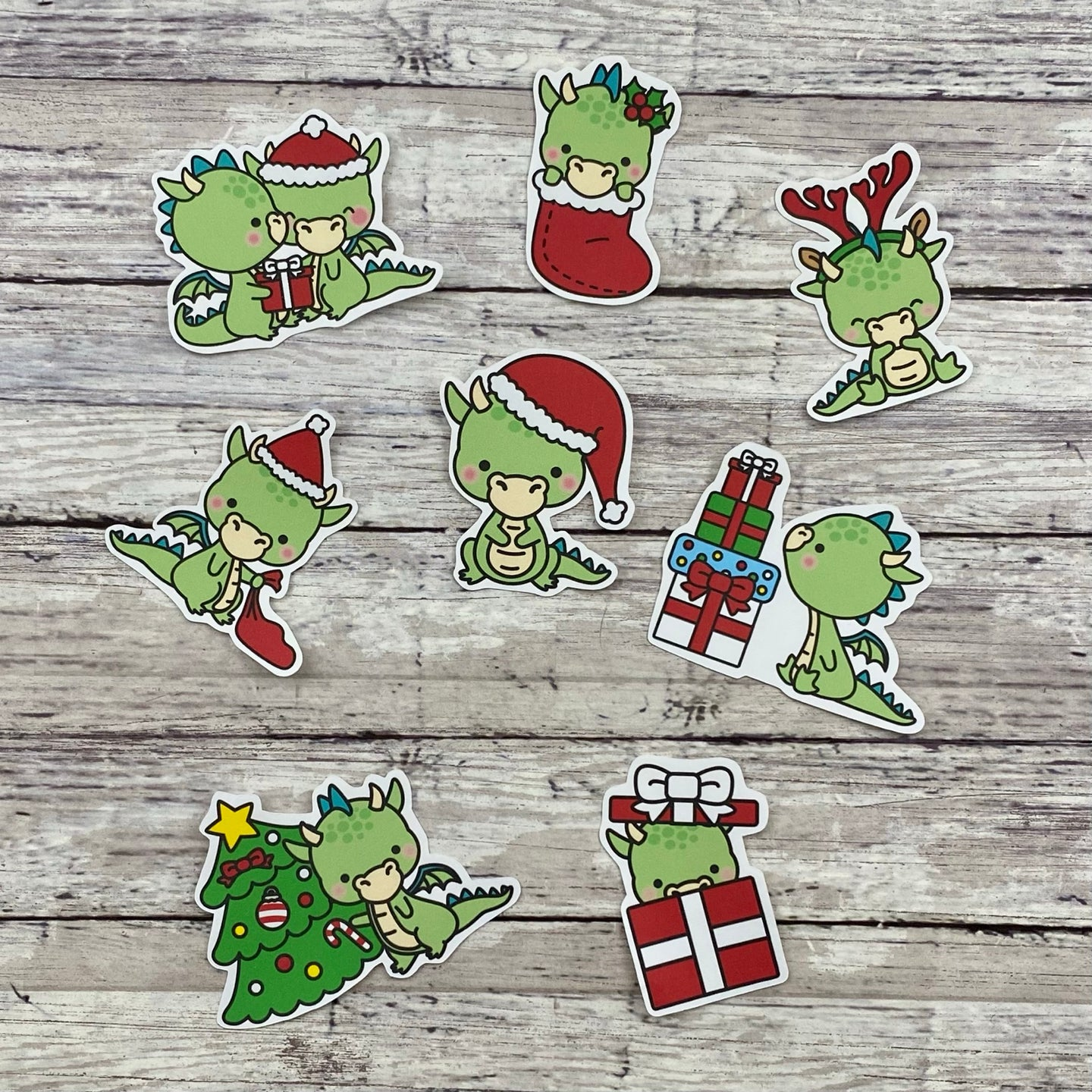 Christmas Dragon Die Cut Planner Stickers