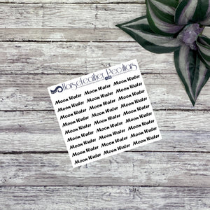 Moon Water Script Planner Stickers