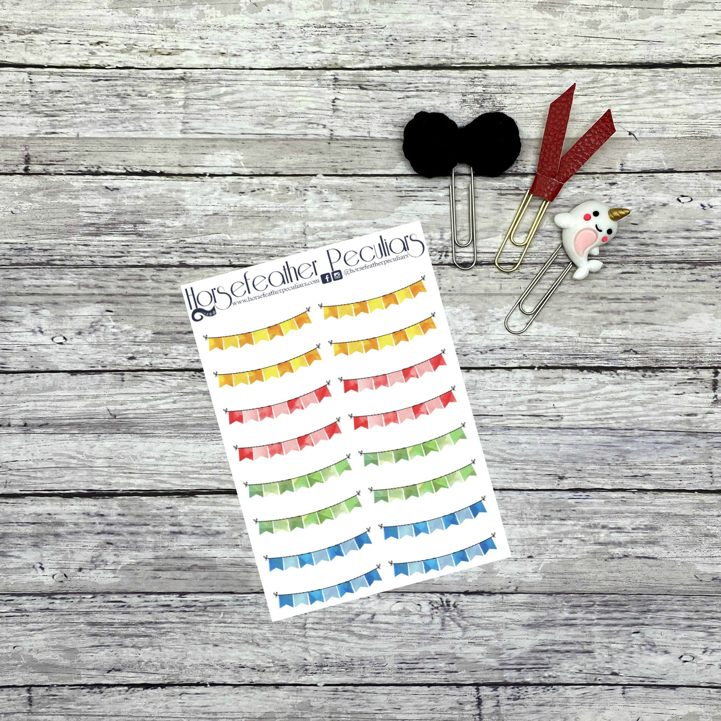 Bunting Header Planner Stickers