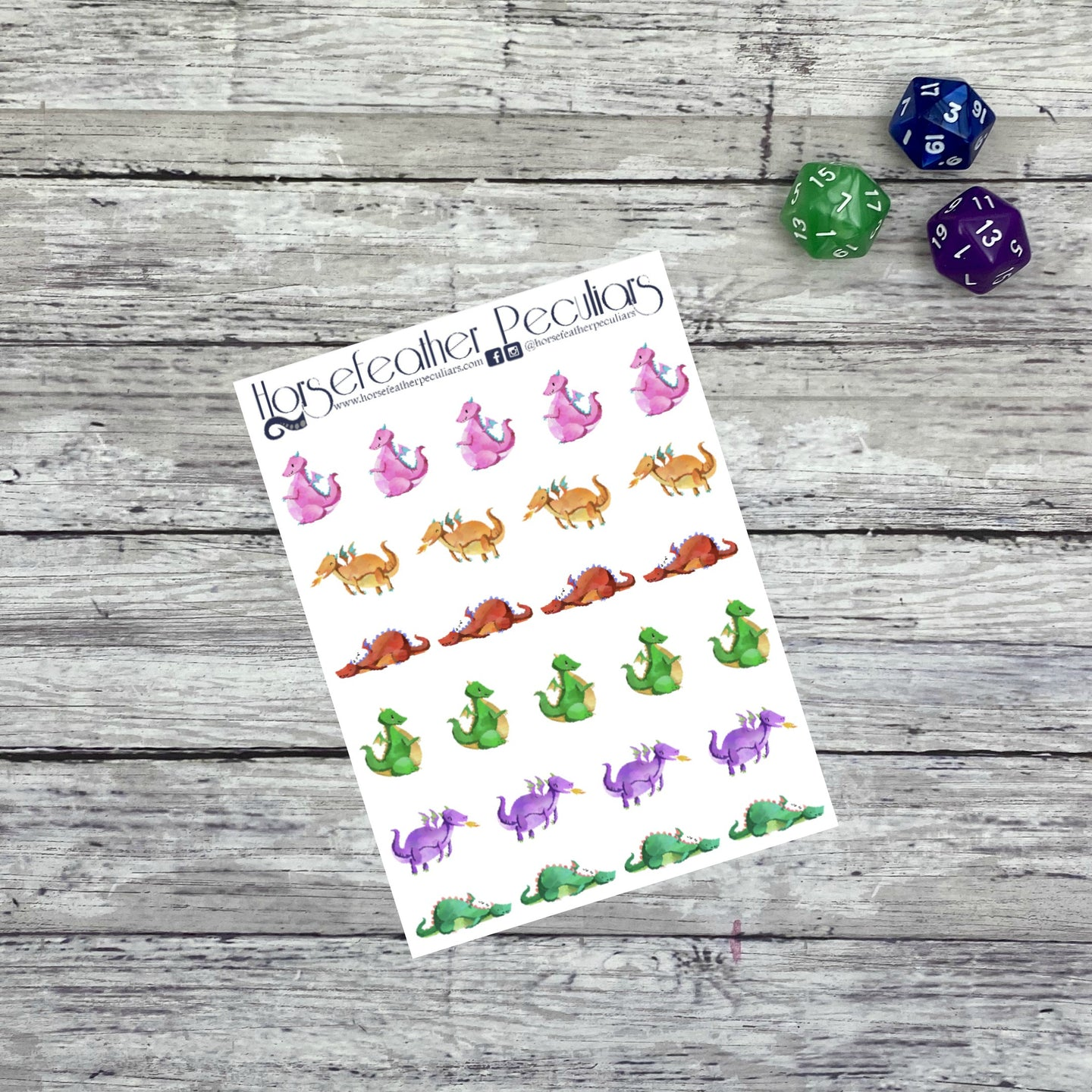 Watercolor Dragon Planner Stickers