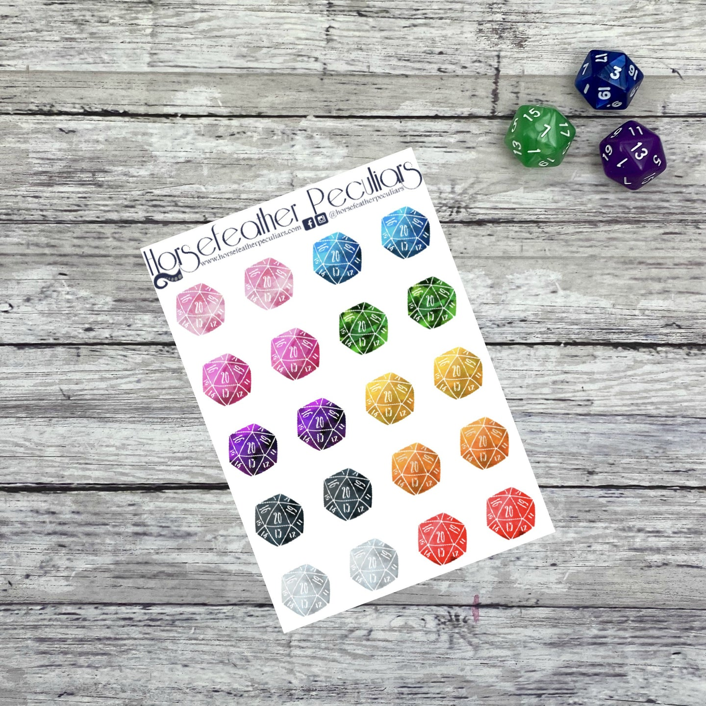 D20 Watercolor Planner Stickers