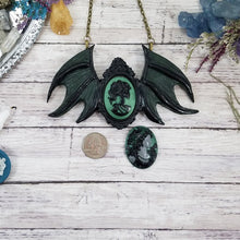 Load image into Gallery viewer, Green Gothic Winged Cameo Pendant