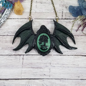 Green Gothic Winged Cameo Pendant
