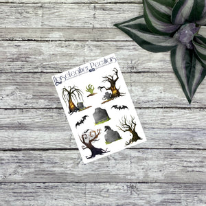 Spooky Trees Deco Planner Stickers