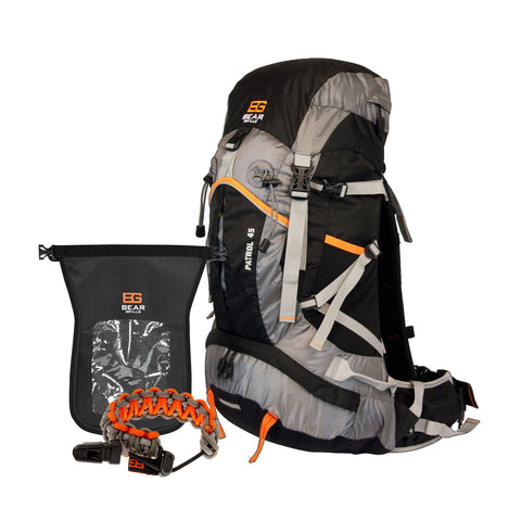 45 Patrol Backpack and Survival Lanyard and BG Pro-Tech Dry Bag
