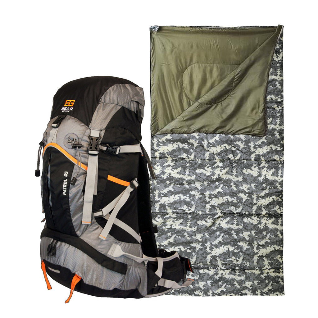 Flash Cyber Monday Sale! Bear Grylls 45L Patrol Backpack + Digital Camo Sleeping Bag