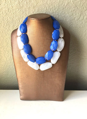 bridesmaid necklace big beaded chunky statement necklace white multi strand jewelry blue necklace Blue /& White Necklace bib necklace
