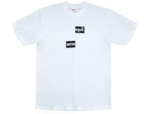Supreme Comme des Garcons SHIRT Split Box Logo Tee White | Large - League Above
