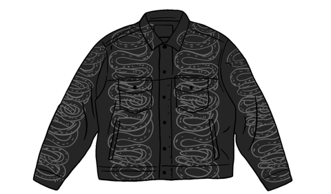 Supreme HYSTERIC GLAMOUR Snake Denim Trucker Jacket Black