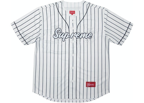 Supreme Rhinestone Baseball Jersey Pinstripe - League Above
