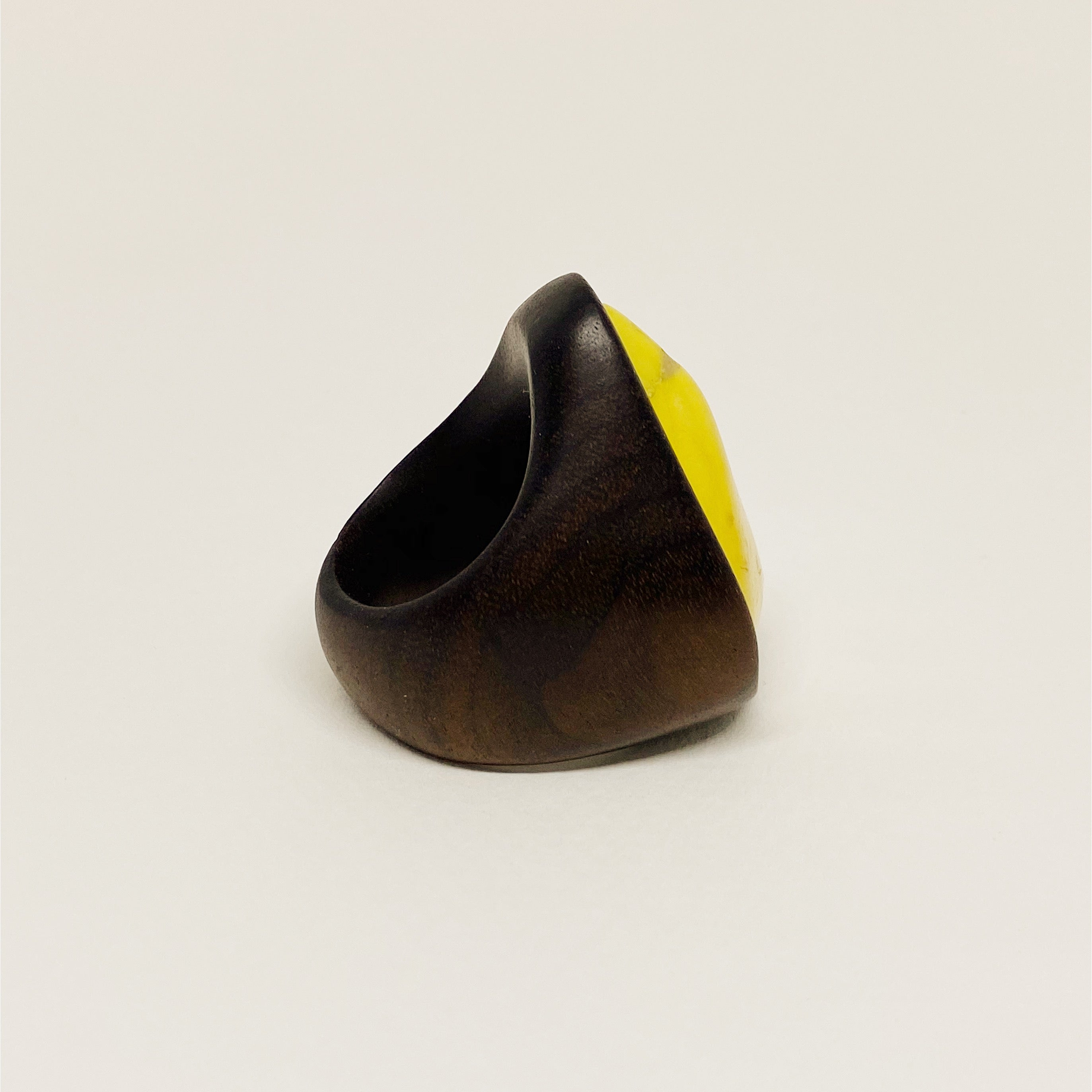 Yellow Gem | Wooden Ring