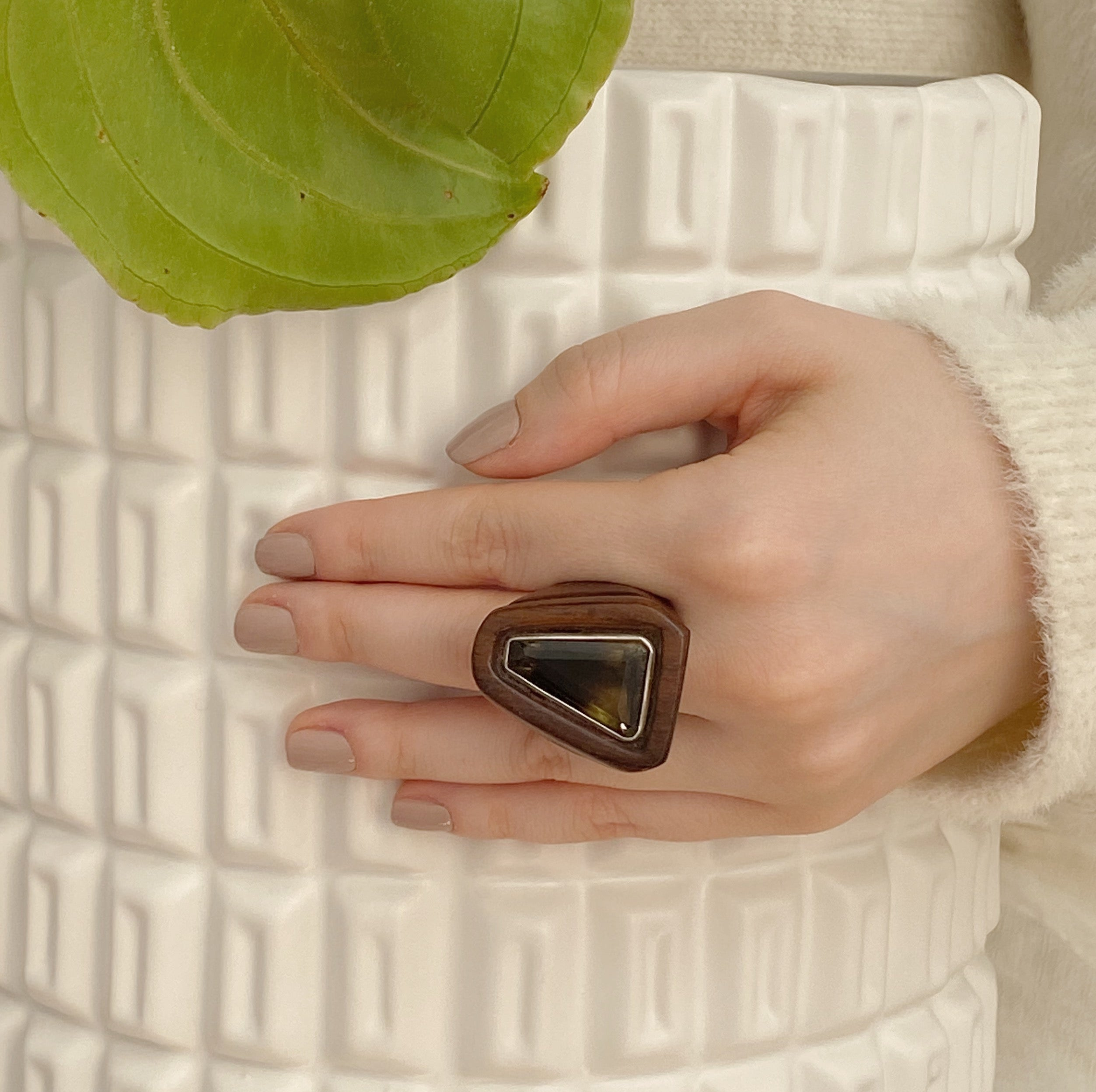 Smoky Quartz | Wooden Ring