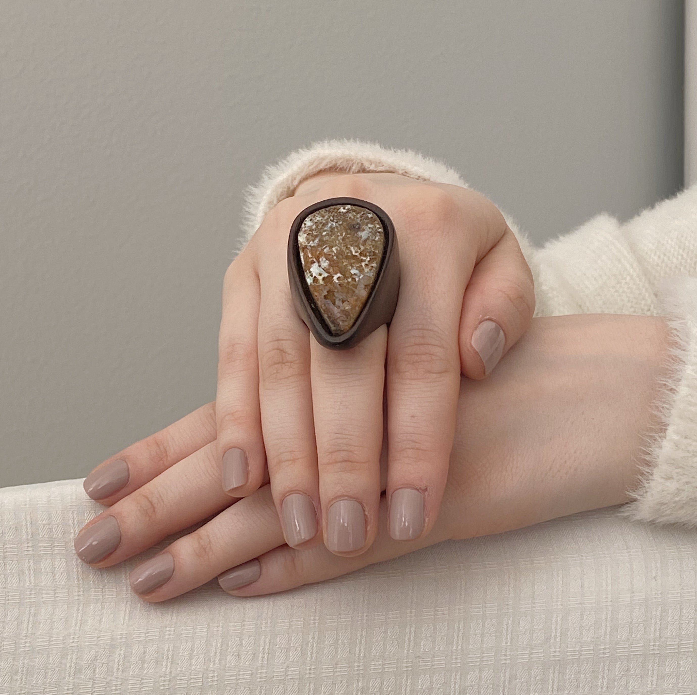 Raw Opal | Wooden Ring