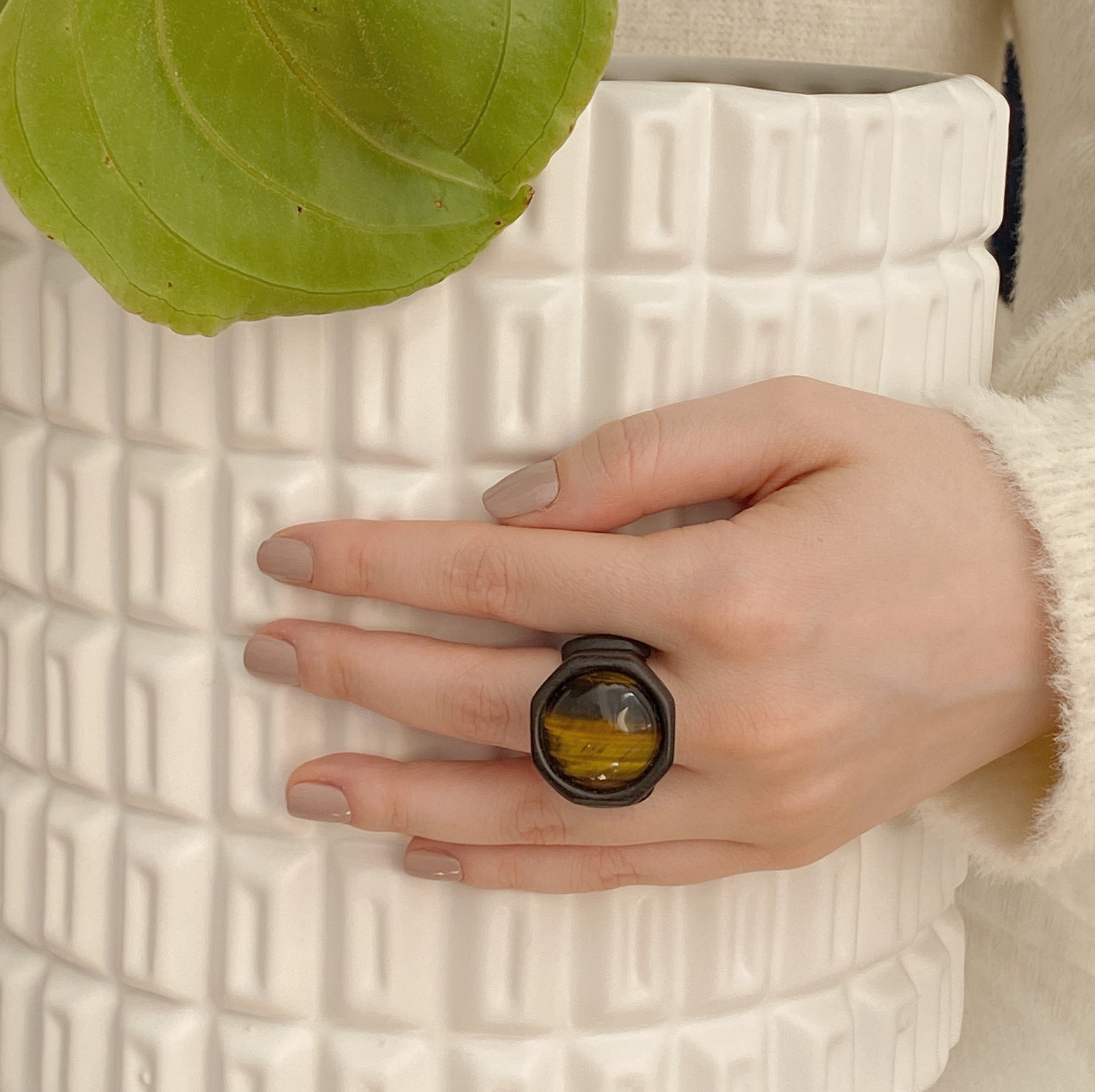 Tiger Eye | Wooden Ring