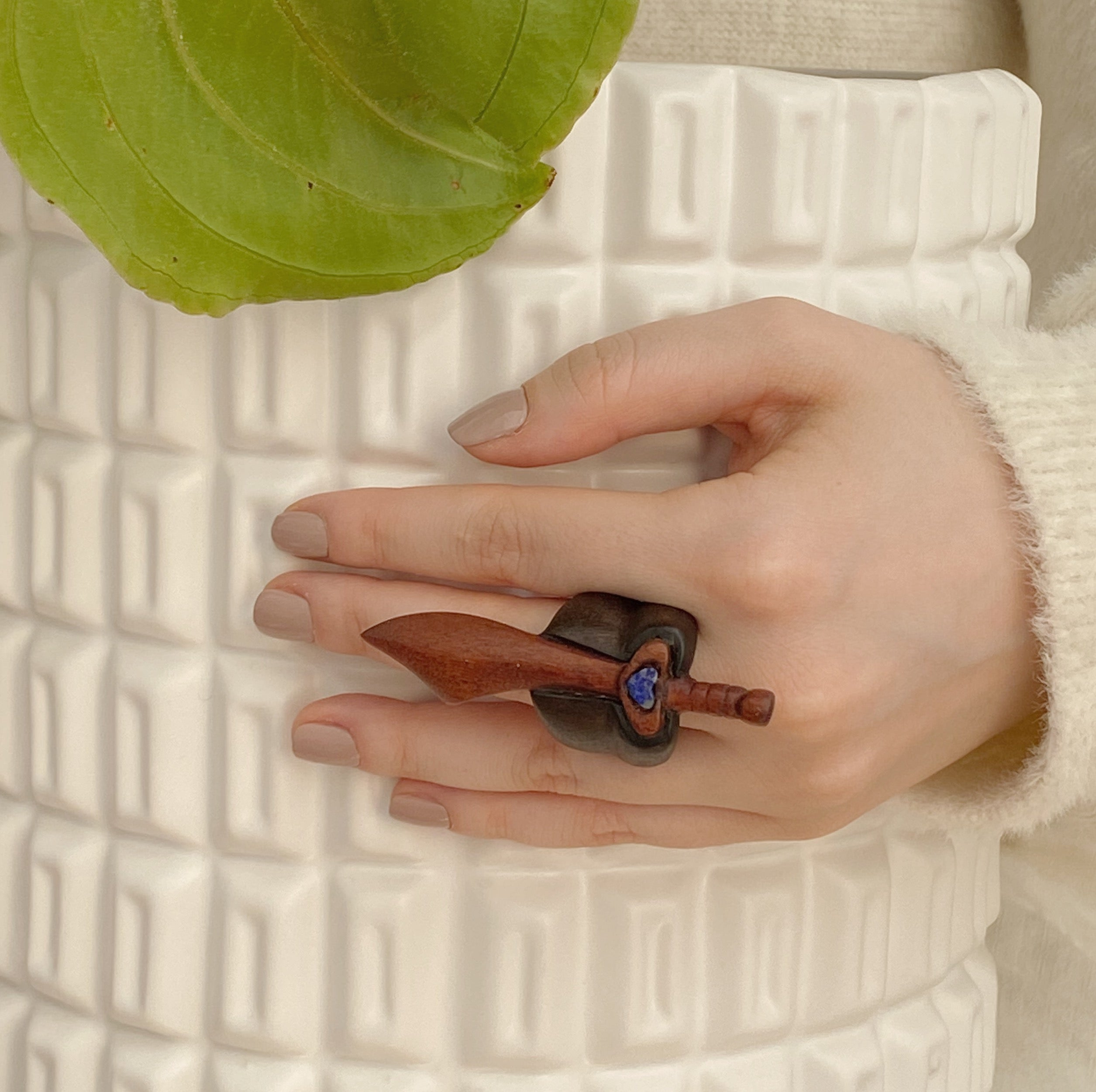 Sodalite Sword | Wooden Ring