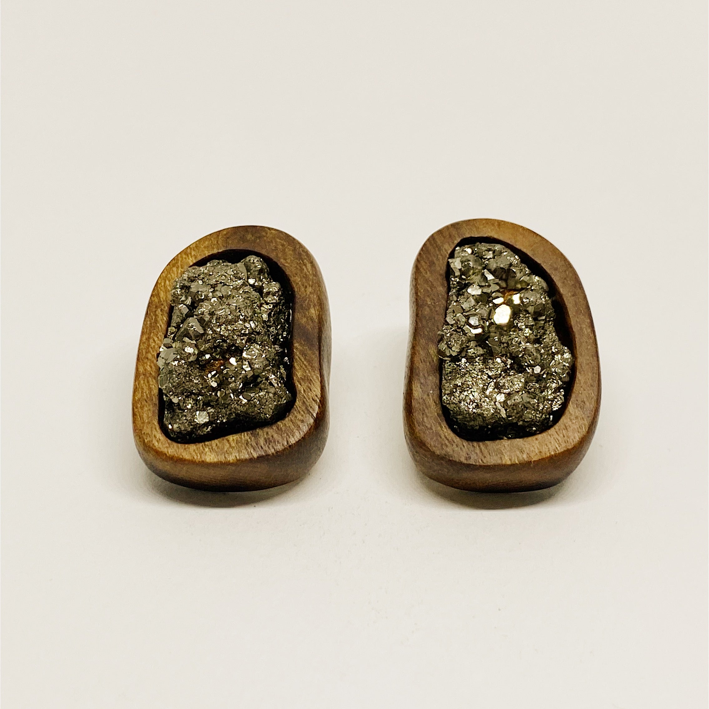 Fools Gold Pyrite | Wooden Earrings