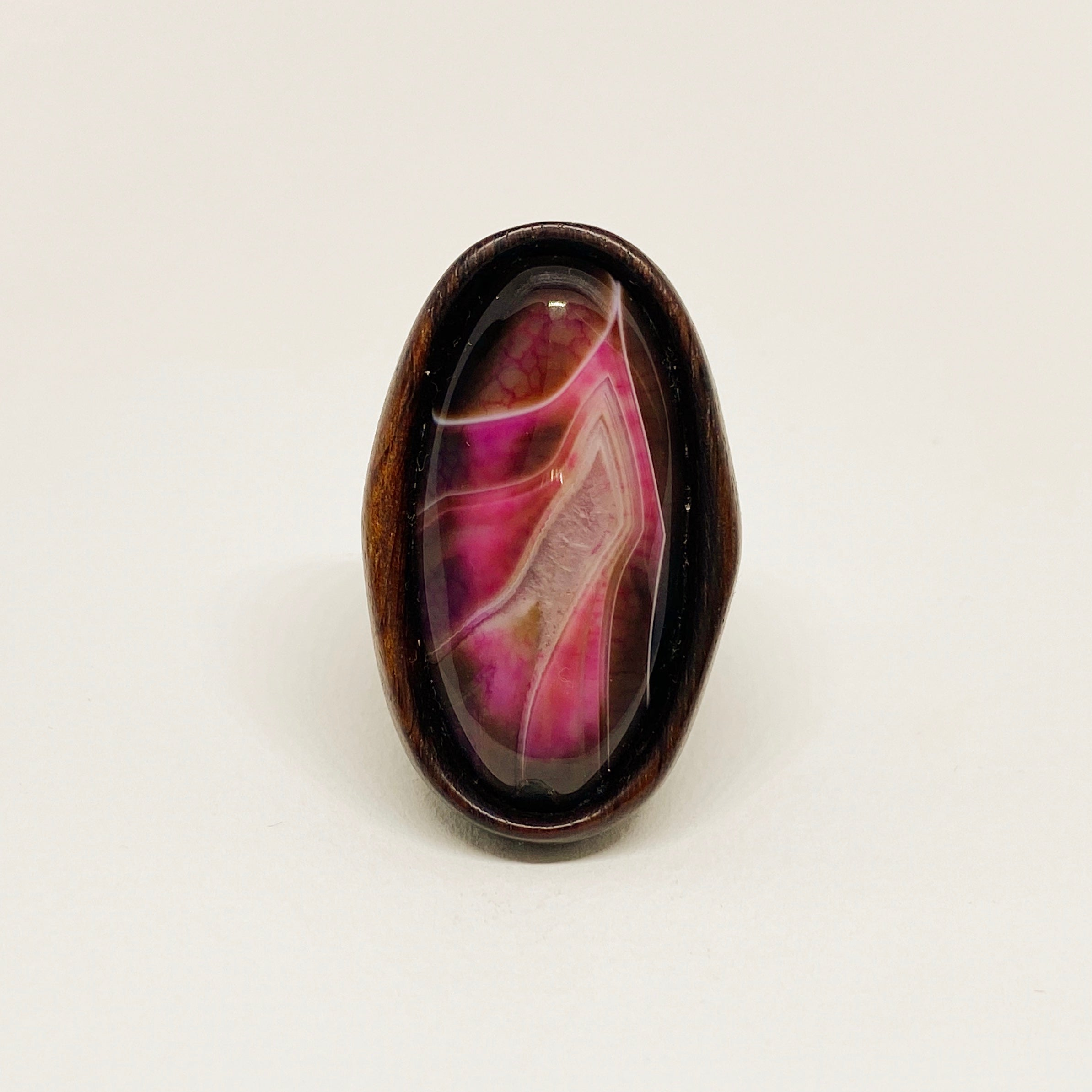 Pink Agate | Wooden Ring