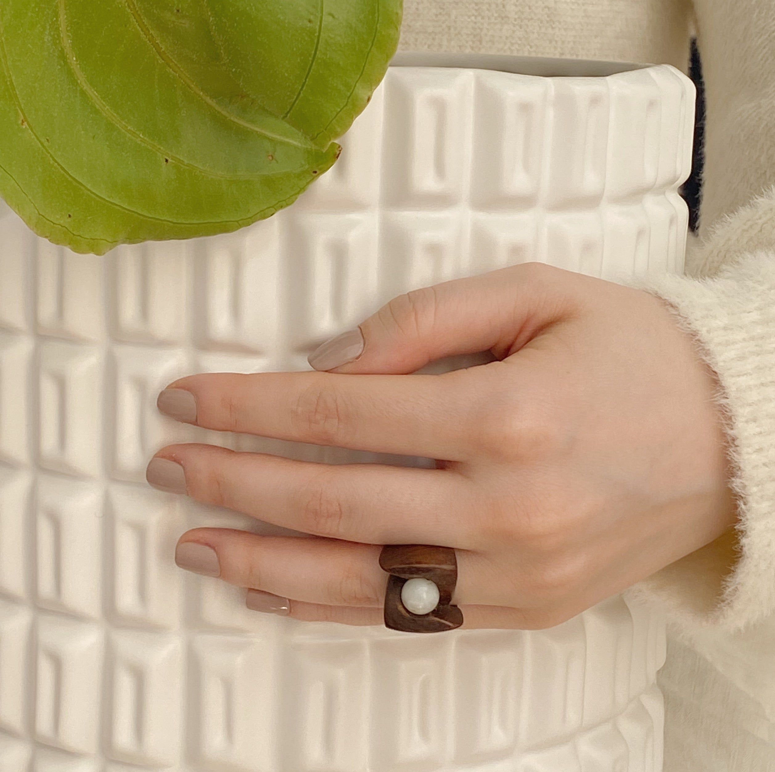 Delicate White Shell Ring