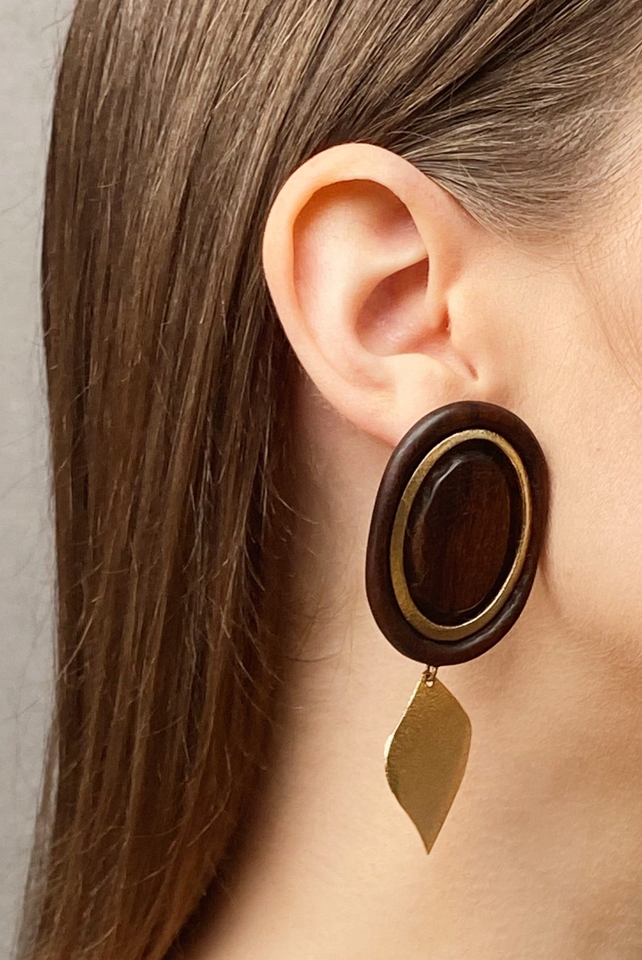 Golden Leaf | Wooden Earrings
