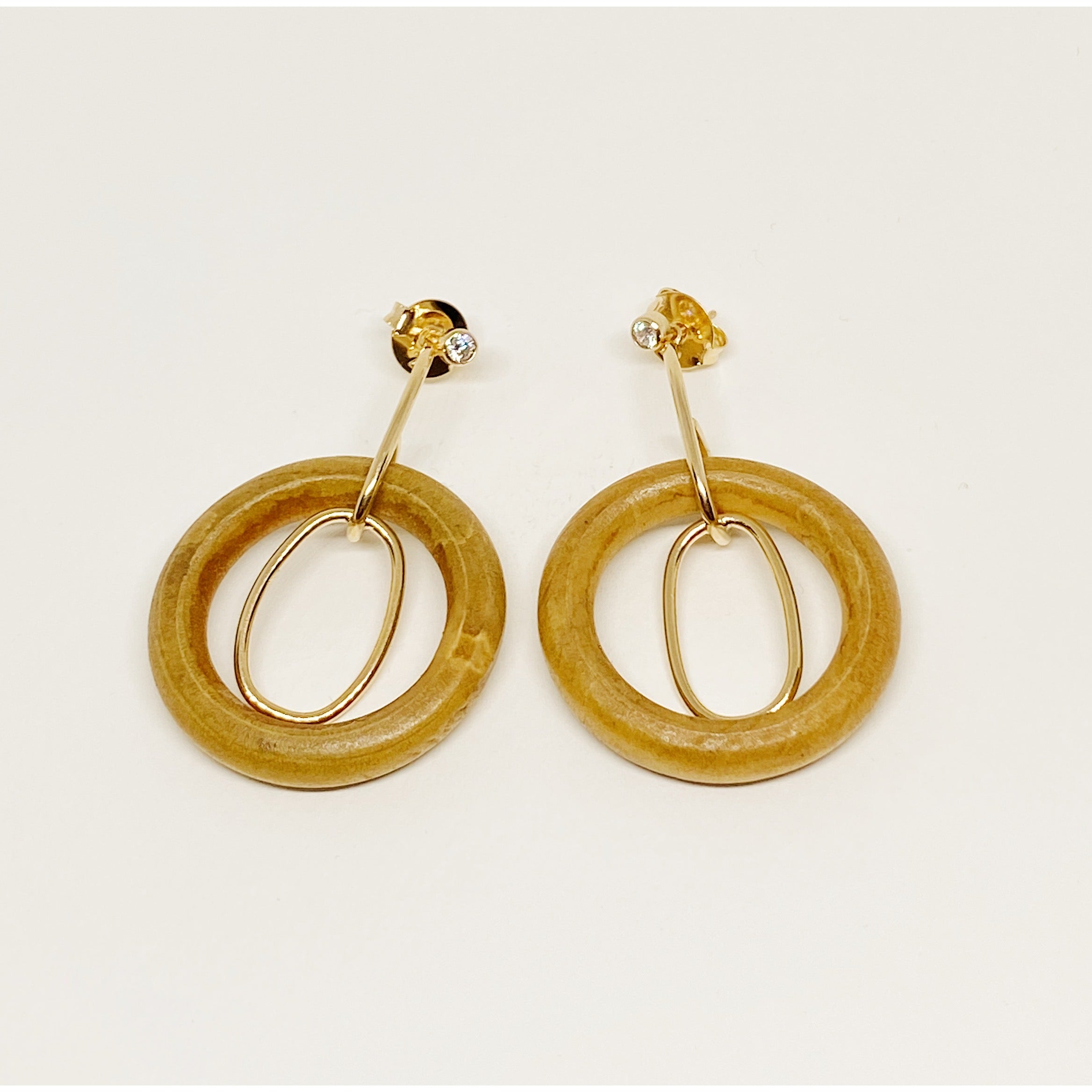 Wood, Stone and Gold earrings
