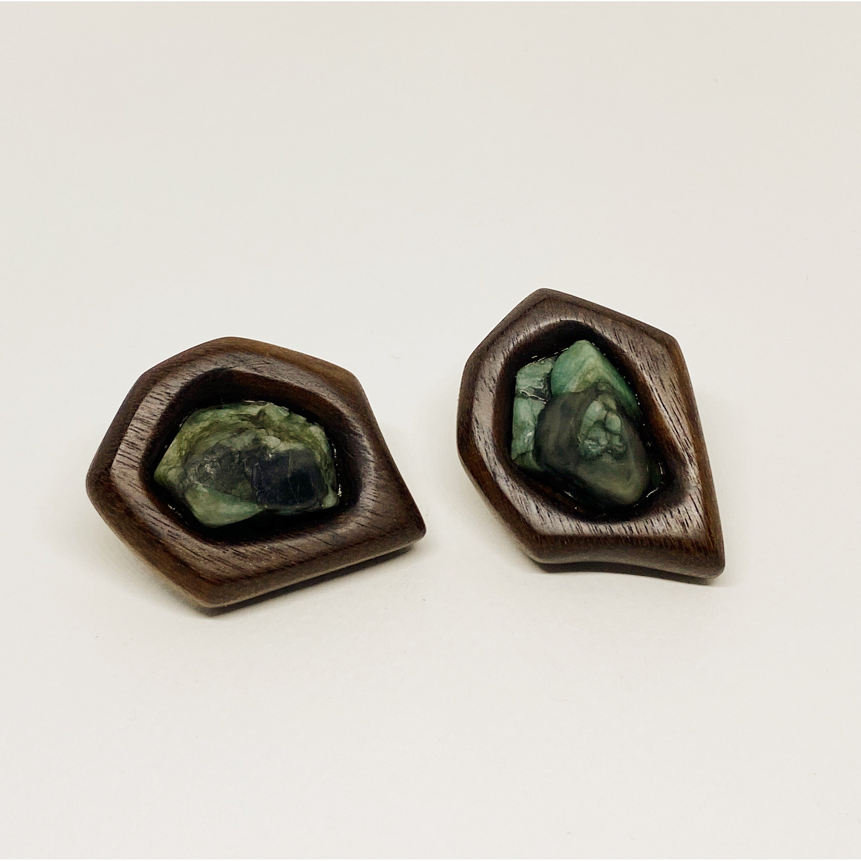 Raw Emerald | Wooden Earrings