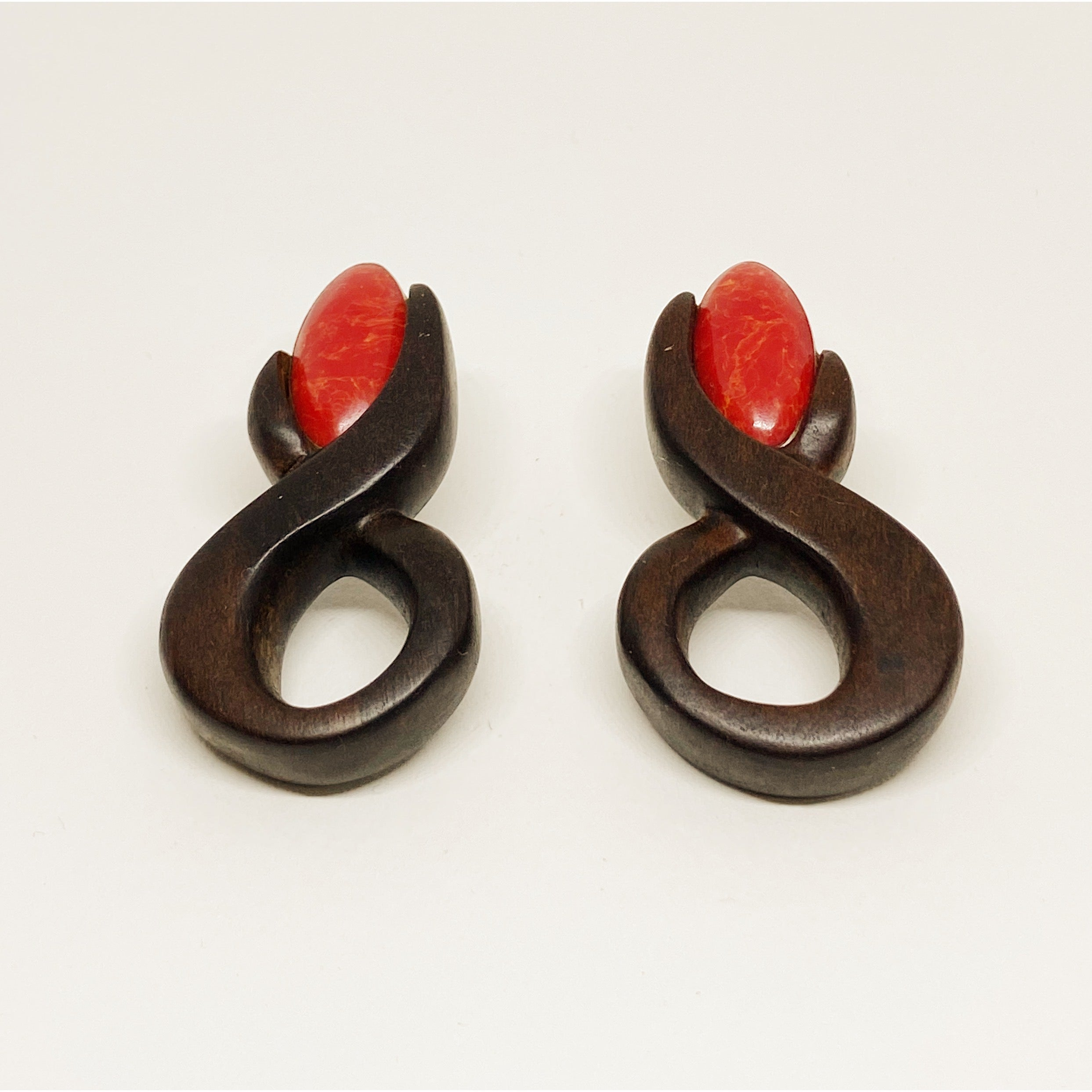 Red Gem Infinity | Wooden Earrings