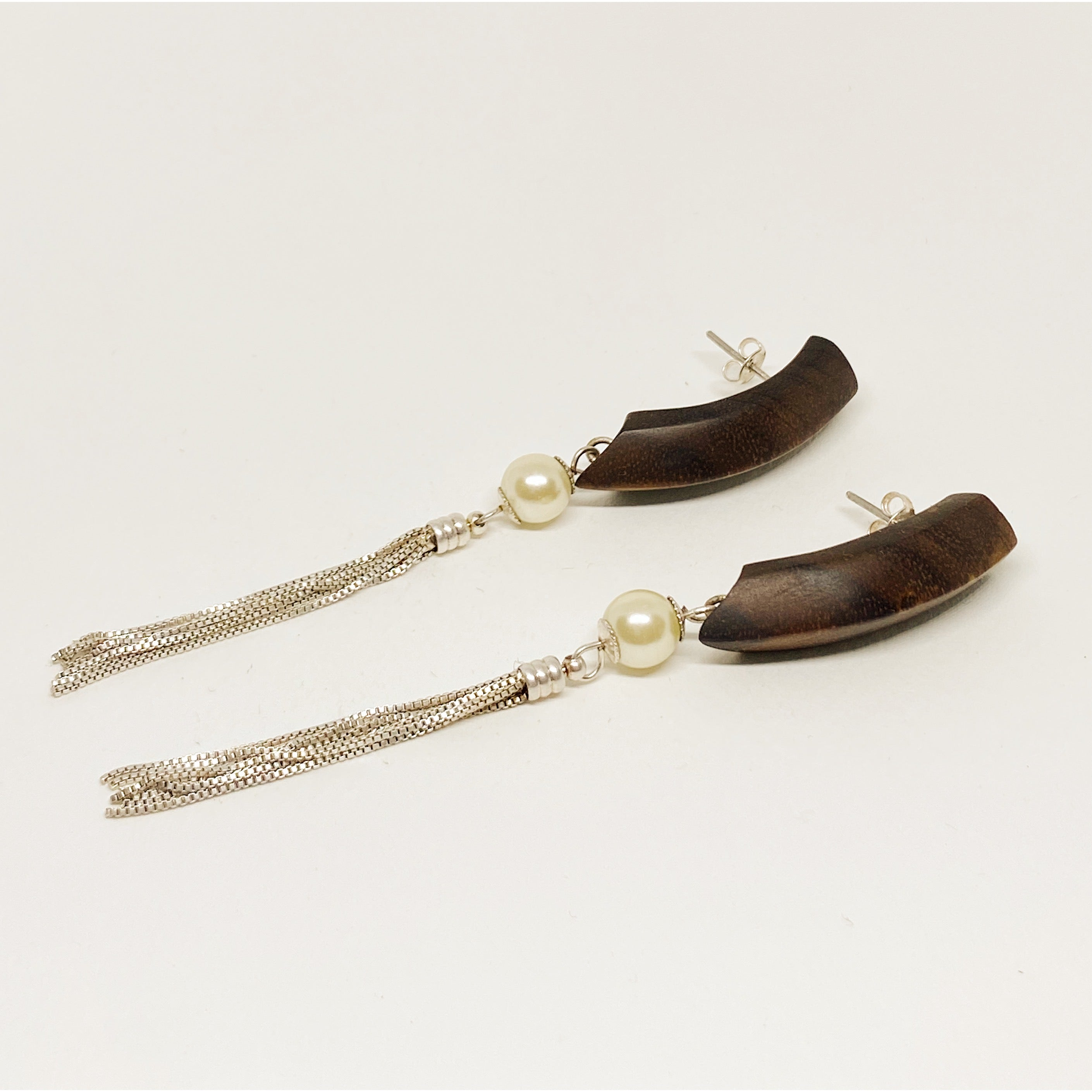 Dangly Earrings | Wood, Silver and Pearls