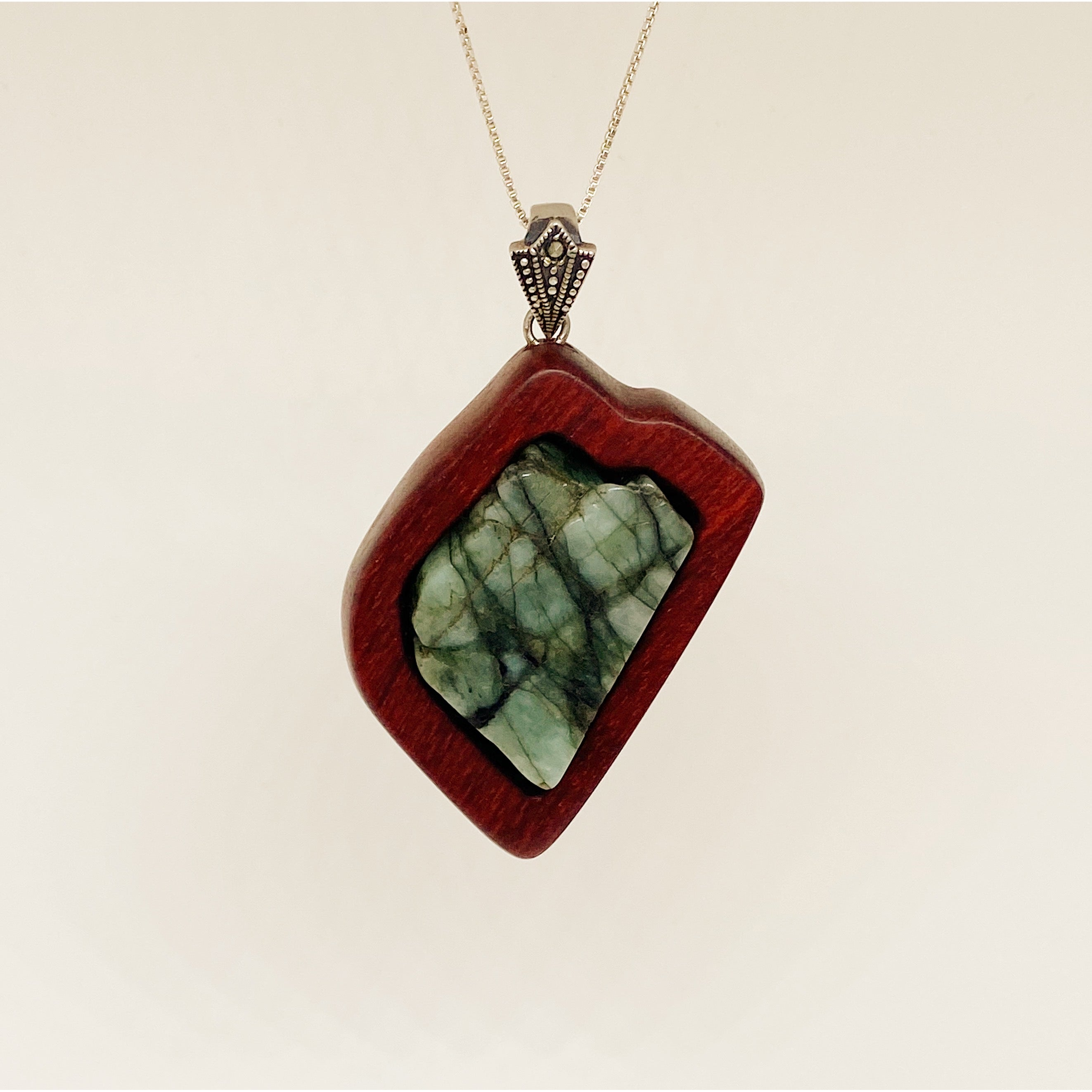 Raw Emerald | Wooden Pendant