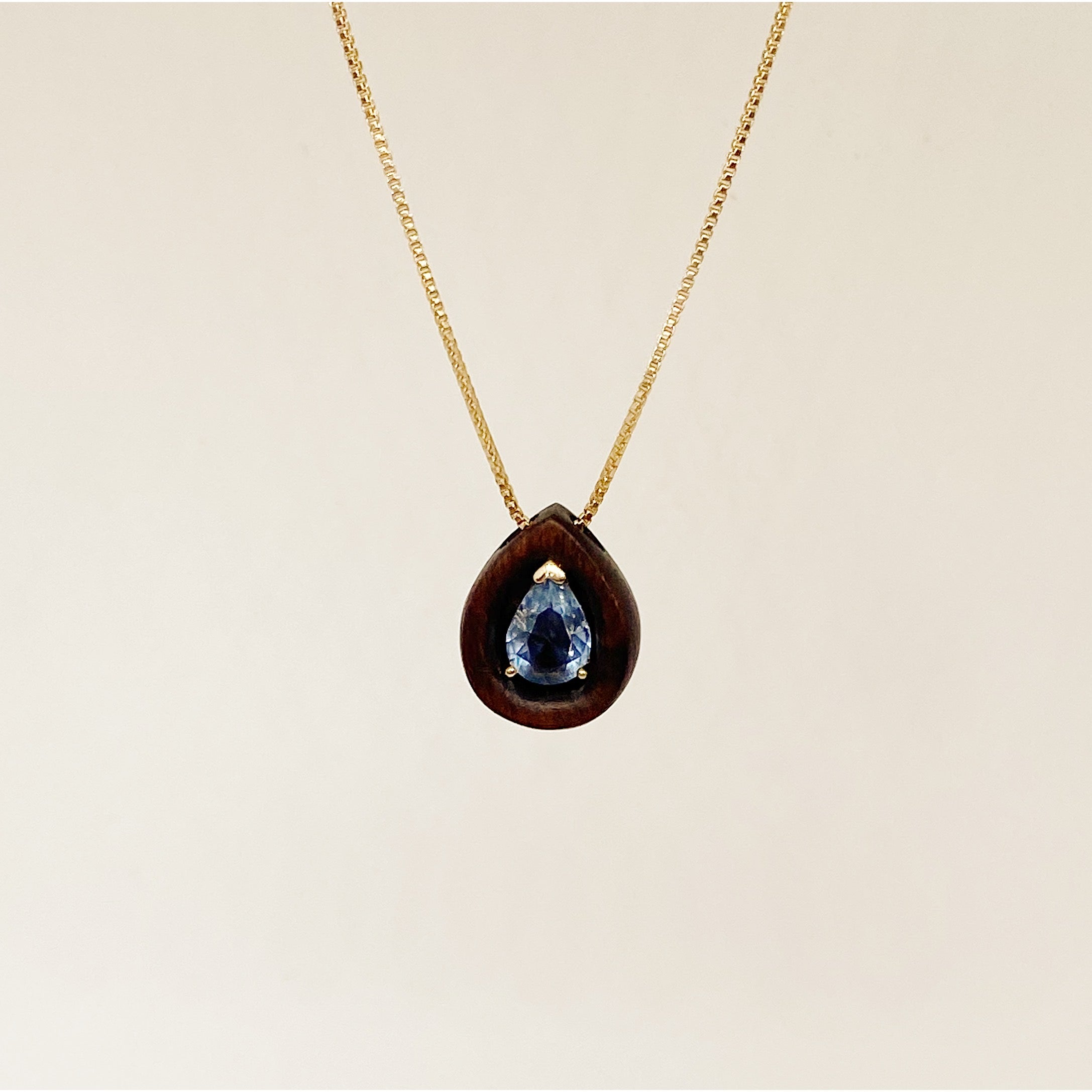 Golden Blue Crystal Drop | Wooden Necklace