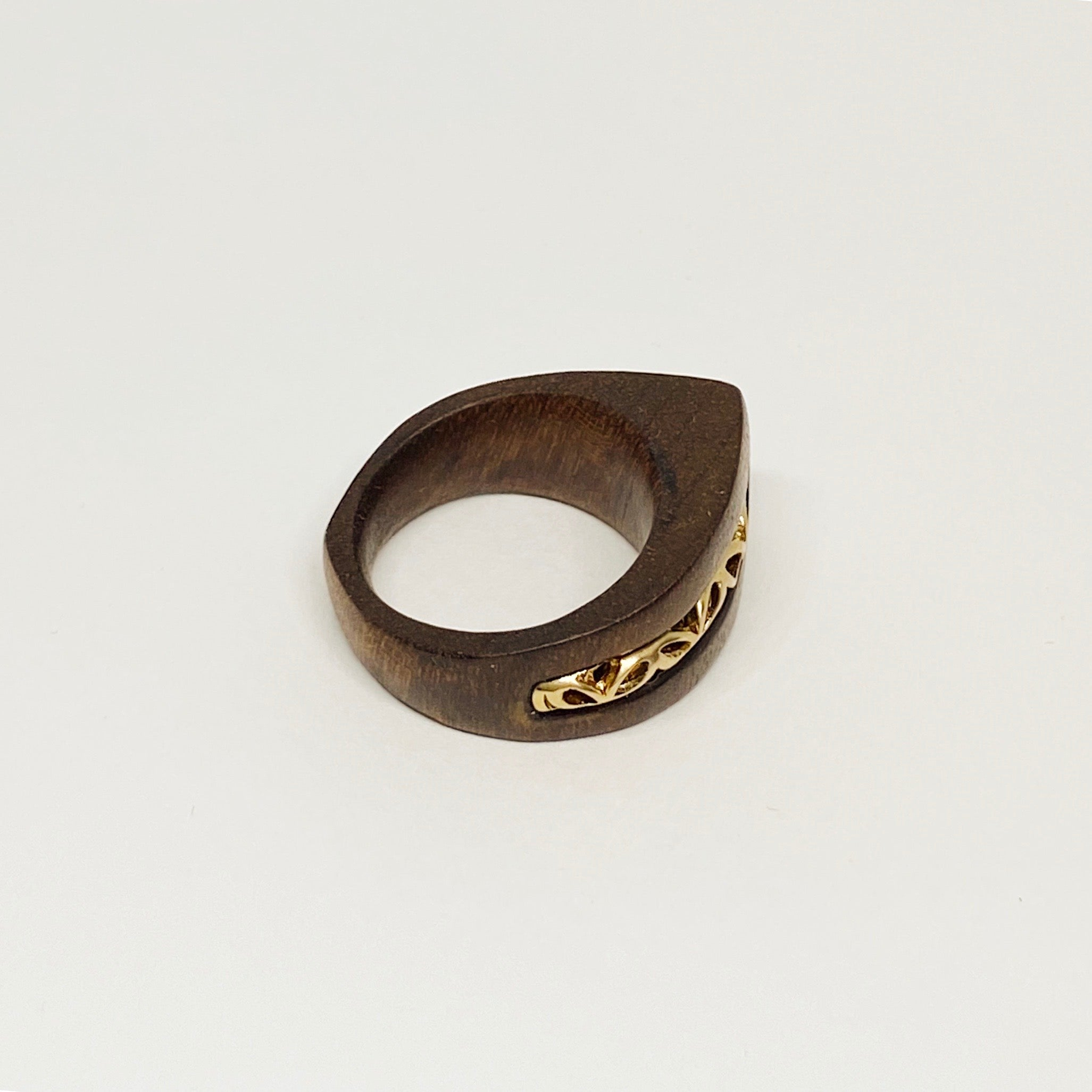 Golden Ornament | Wooden Ring