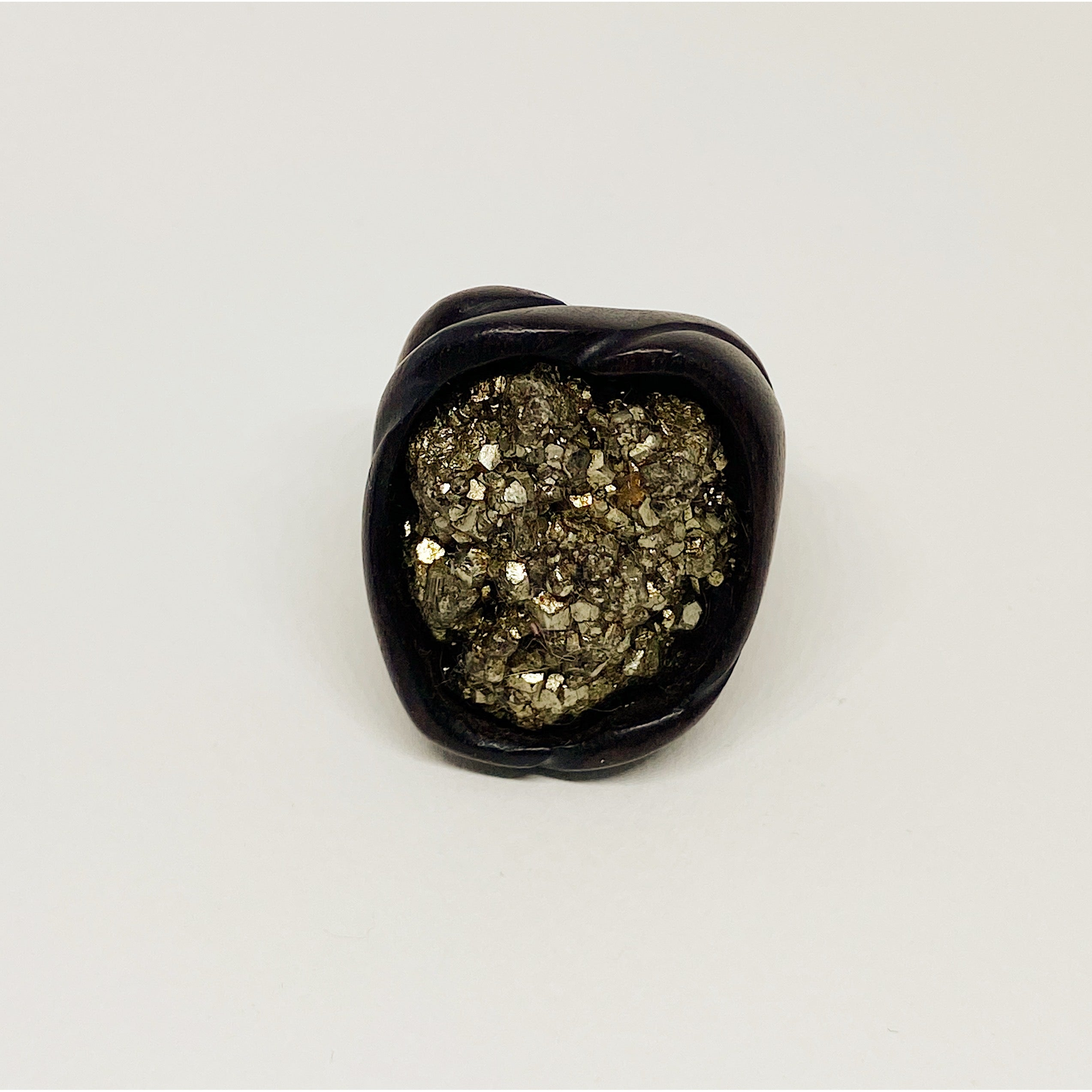 Fools Gold Pyrite | Wooden Ring