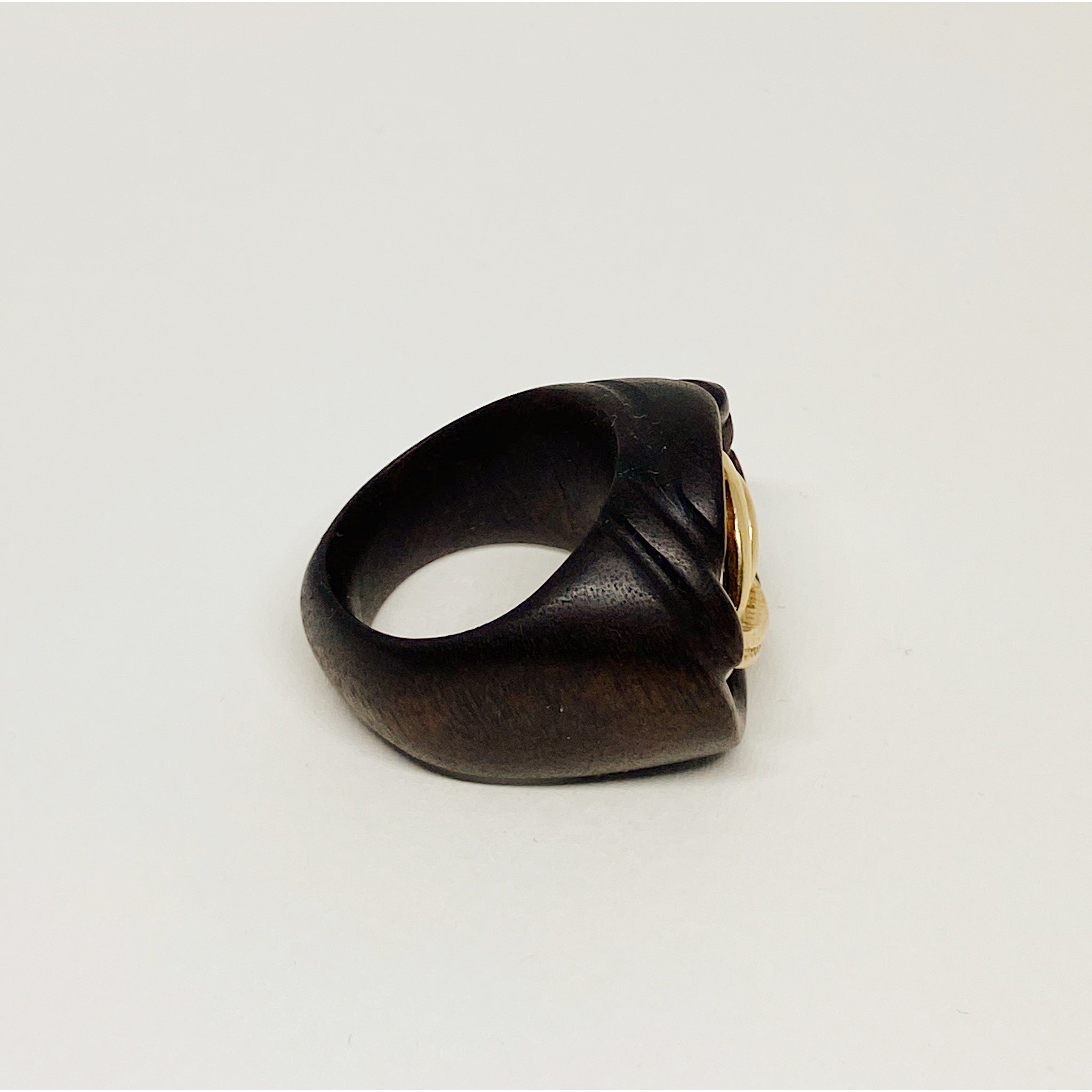 Gold Swiggly | Wooden Ring