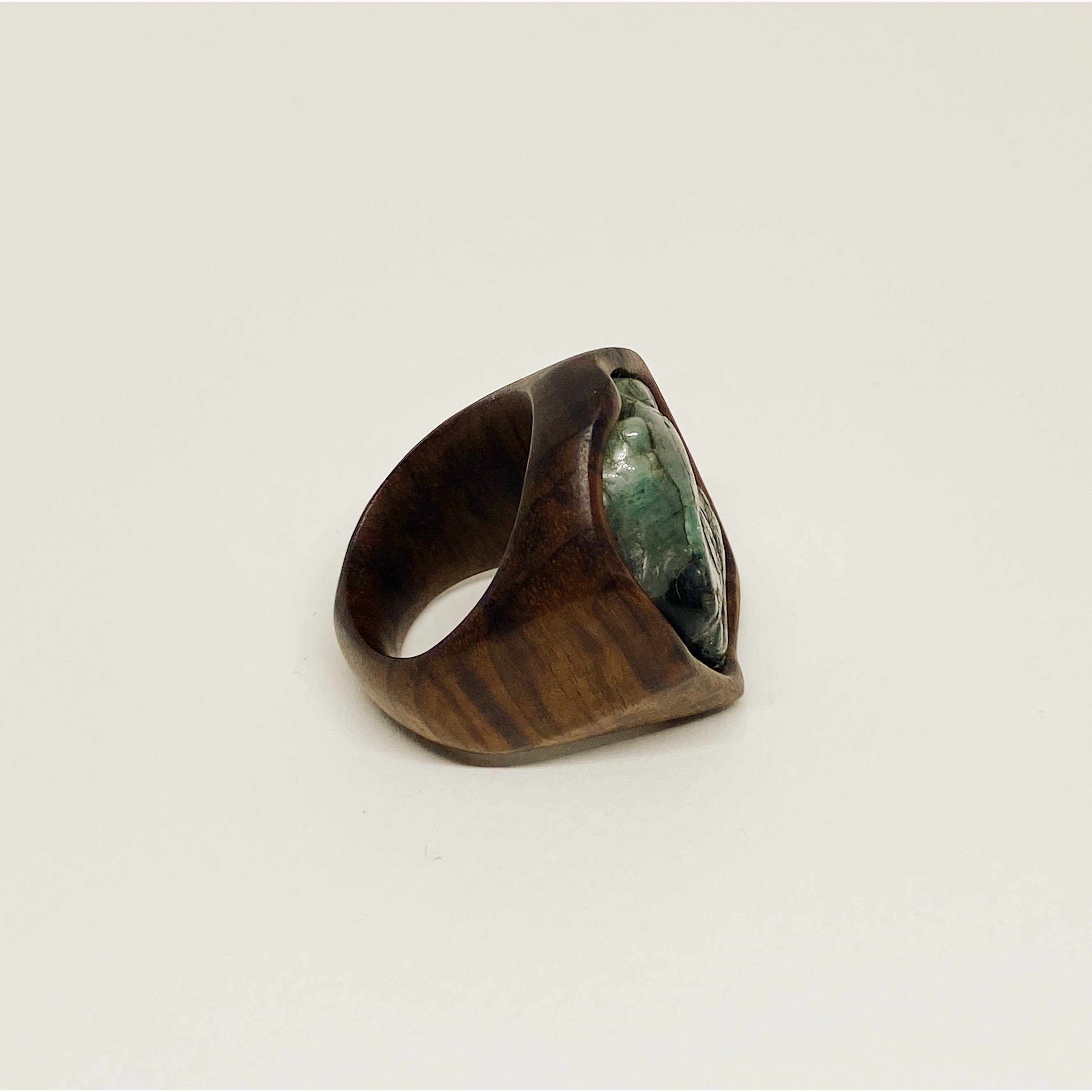 Raw Emerald Edgy Ring