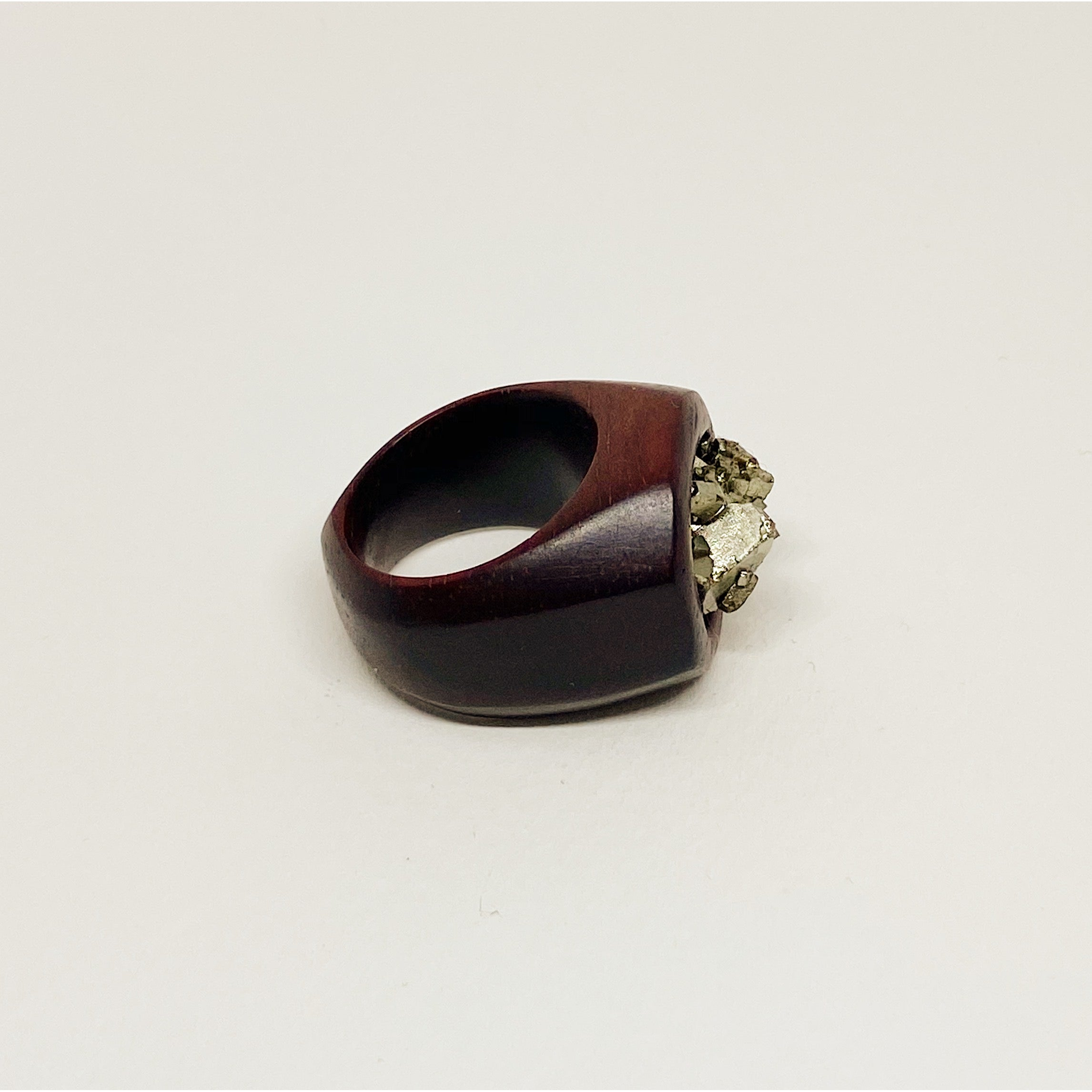 Pyrite Rock | Wooden Ring