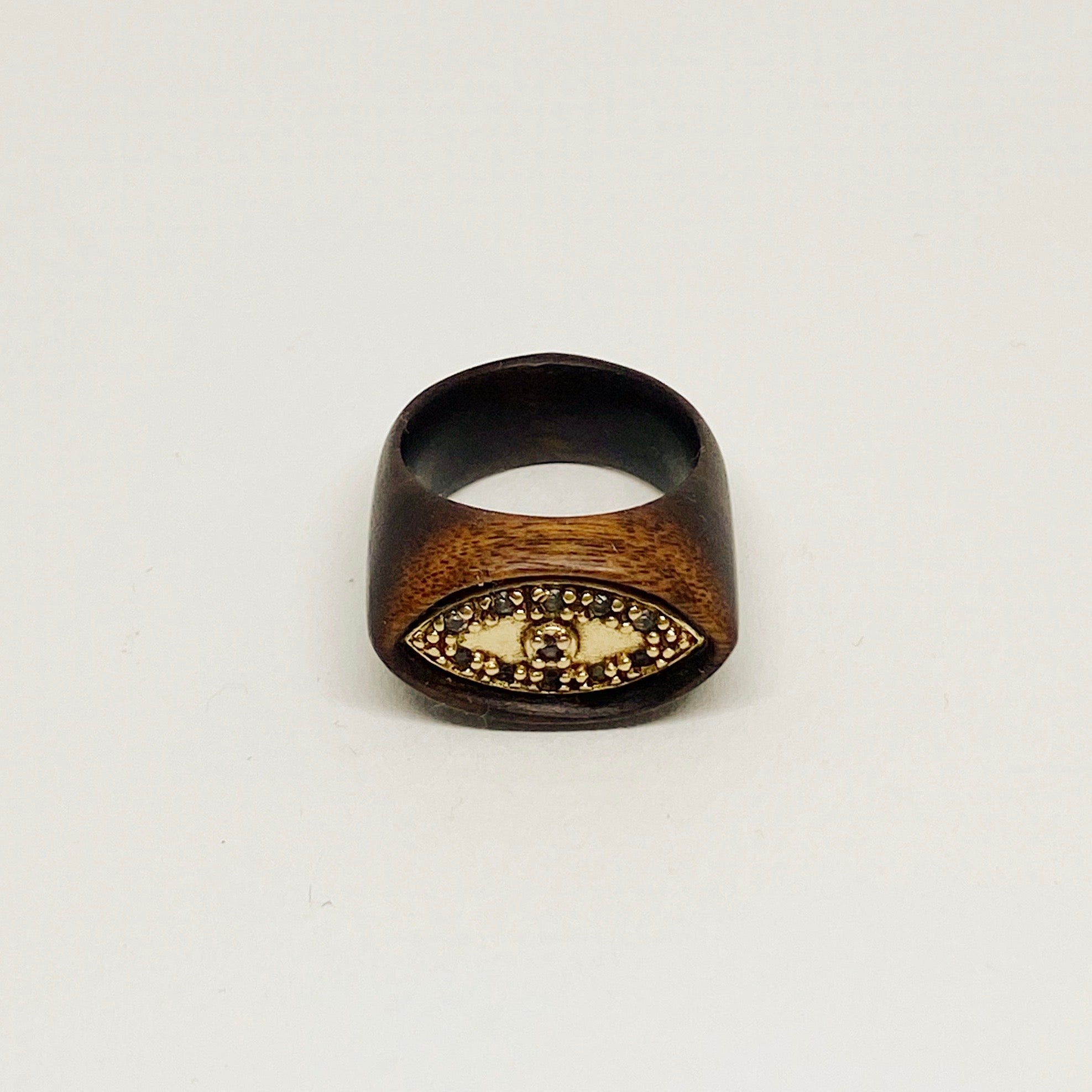 Marcasites Eye | Gold Plated | Wooden Ring