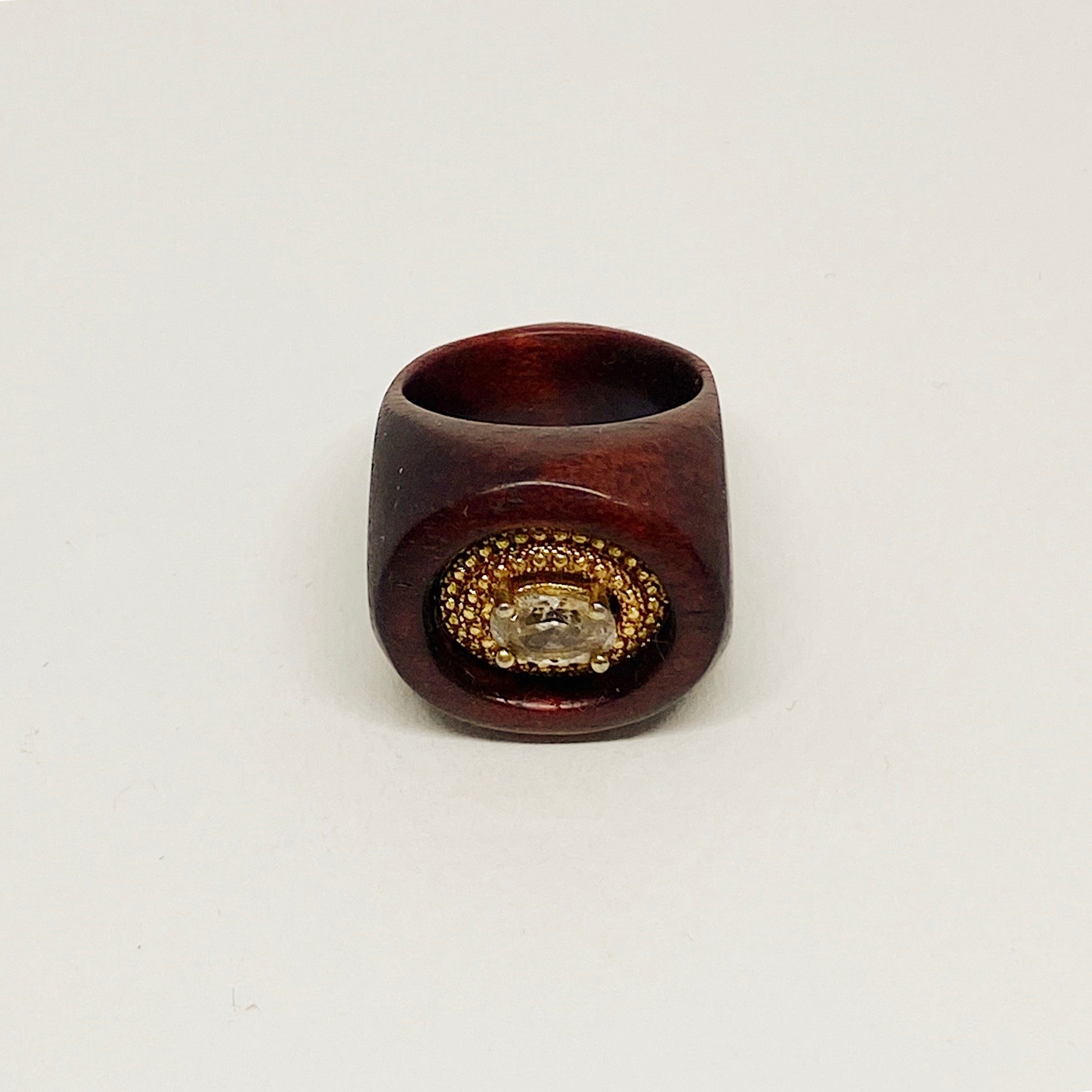 Golden Crown Crystal | Wooden Ring