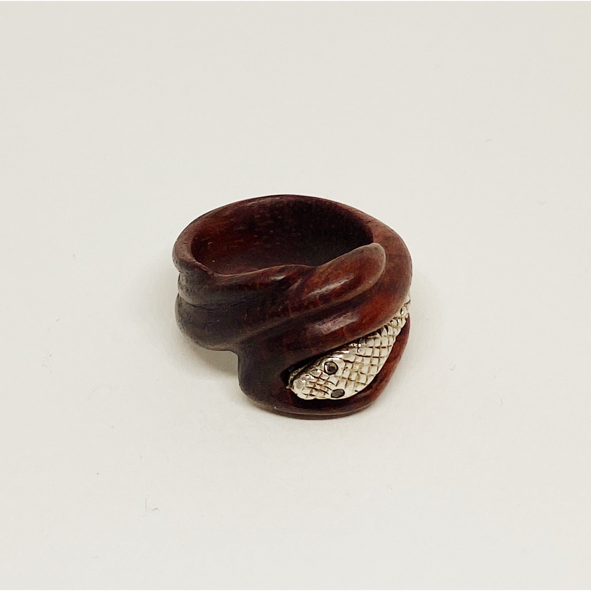 Silver Snake | Wooden Ring