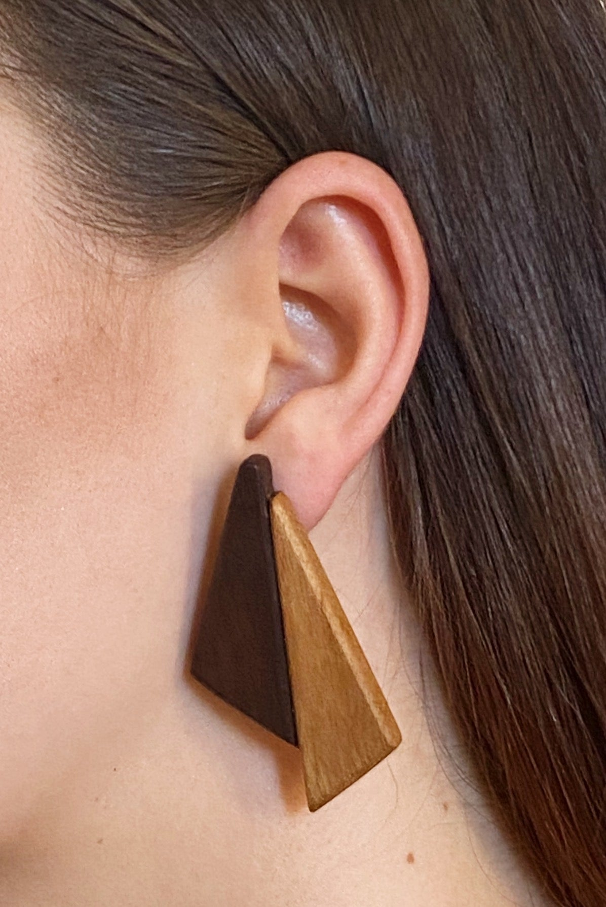 Dual Triangle | Wooden Earrings